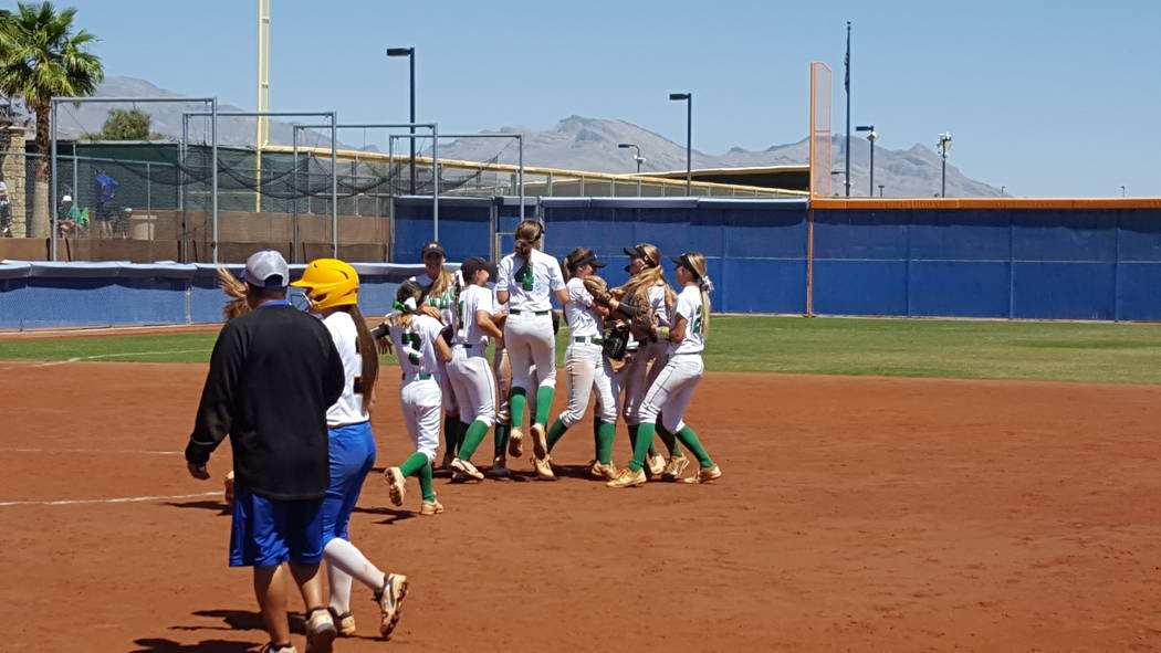 Palo Verde's softball team celebrates its victory over Sierra Vista in the Class 4A Sunset Region softball championship Saturday at Bishop Gorman. (David Schoen/Las Vegas Review-Journal)