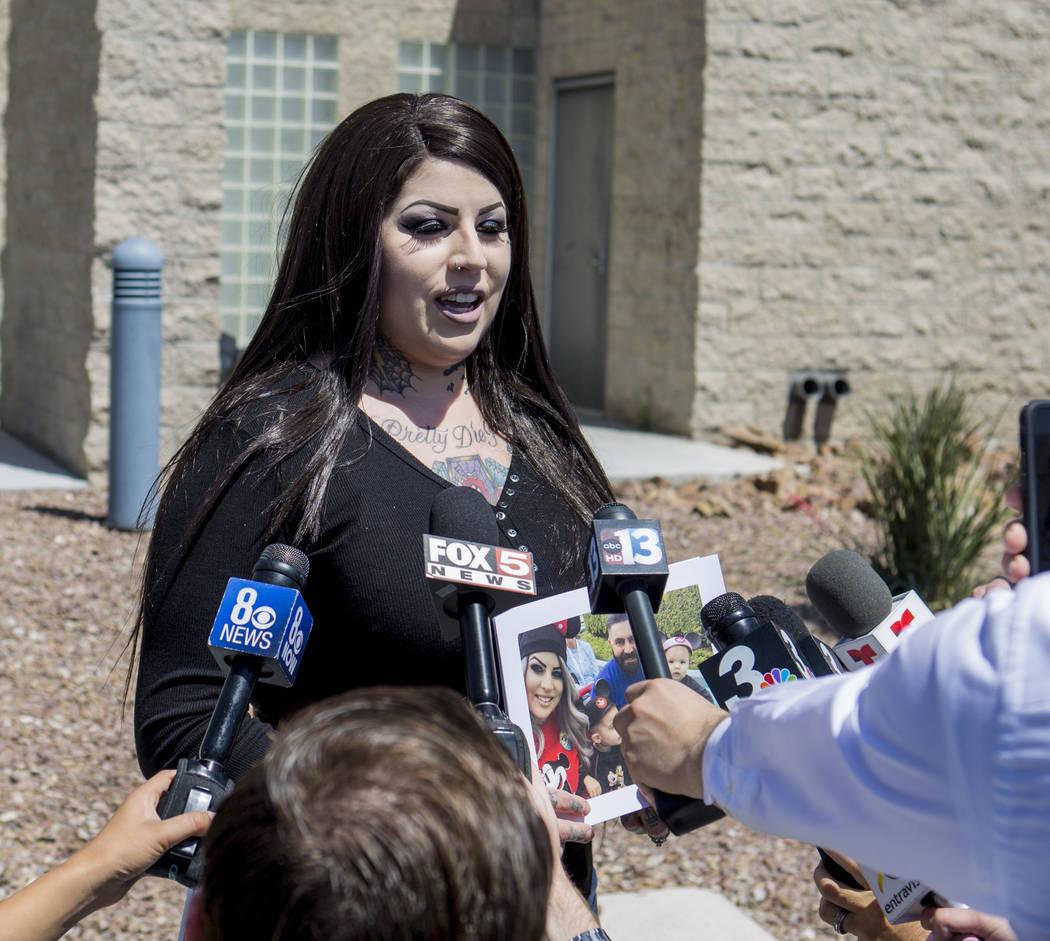 Julie Campos discusses the death of her husband, homicide victim Luis Campos, at the Metropolitan Police Department's downtown area command in Las Vegas, Monday, May 8, 2017. Elizabeth Brumley Las ...