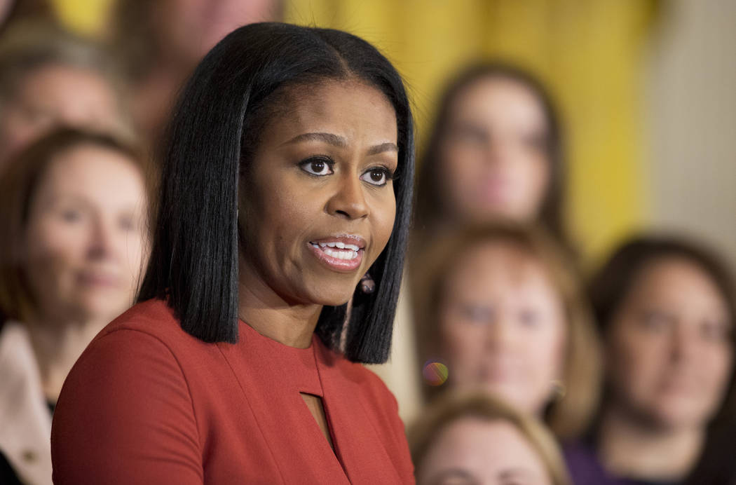 Then-first lady Michelle Obama speaks at the 2017 School Counselor of the Year ceremony in the East Room of the White House in Washington. (Manuel Balce Ceneta, AP)