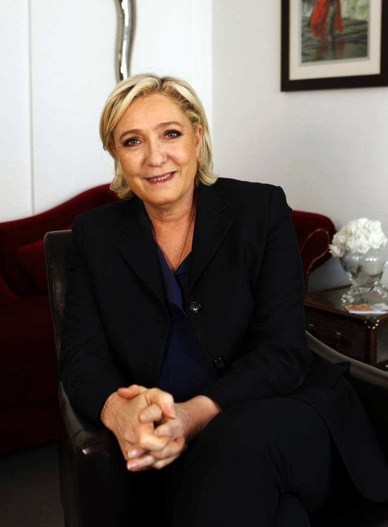 French far-right candidate for the presidential elections Marine Le Pen poses after an interview with the Associated Press, Friday, May 5, 2017 in Paris. (Laurent Rebours/AP)