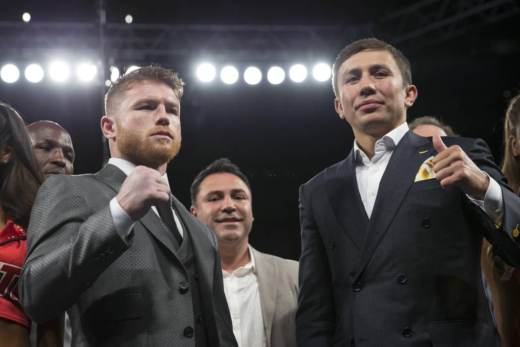 Saul Canelo Alvarez, left, and Gennady Golovkin at T-Mobile Arena on Saturday, May 6, 2017, in Las Vegas. Erik Verduzco Las Vegas Review-Journal @Erik_Verduzco