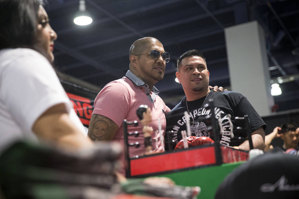 Former professional boxer Fernando Vargas, left, takes a photo with fan Artemio Rosales during the Box Fan Expo at the Las Vegas Convention Center on Saturday, May 6, 2017, in Las Vegas. Erik Verd ...