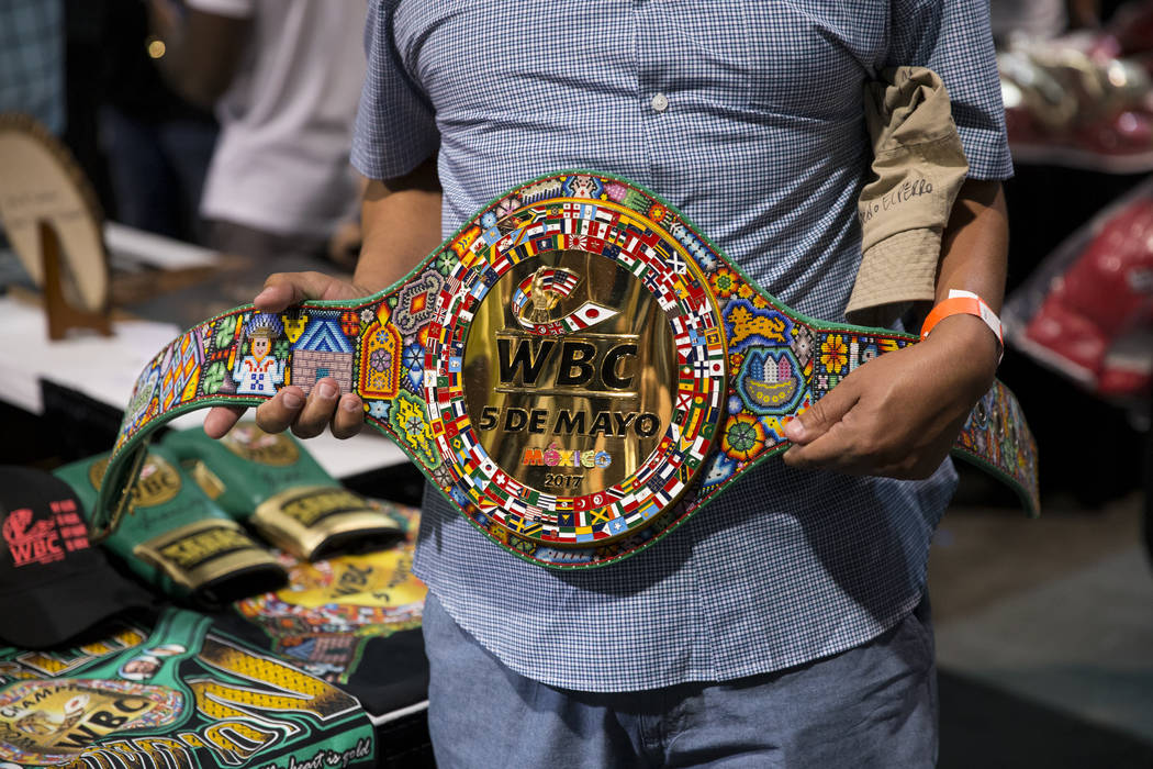 The WBC huichol belt which will be awarded to the winner of the boxing fight between Julio Cesar Chavez and Saul Canelo Alvarez, during the Box Fan Expo at the Las Vegas Convention Center on Satur ...