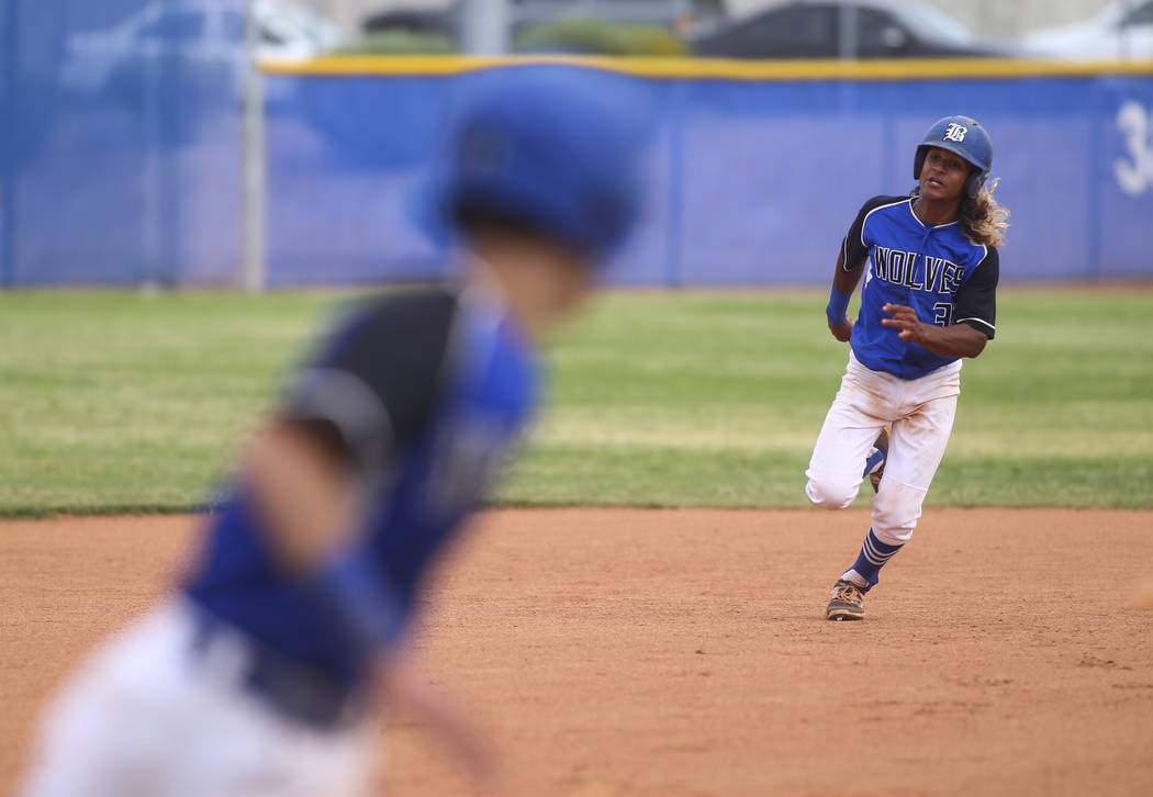 Basic's Christian Rivero (32) runs for third base against Silverado during their first playoff game of the season at Basic High School in Henderson on Tuesday, May 9, 2017. Chase Stevens Las Vegas ...