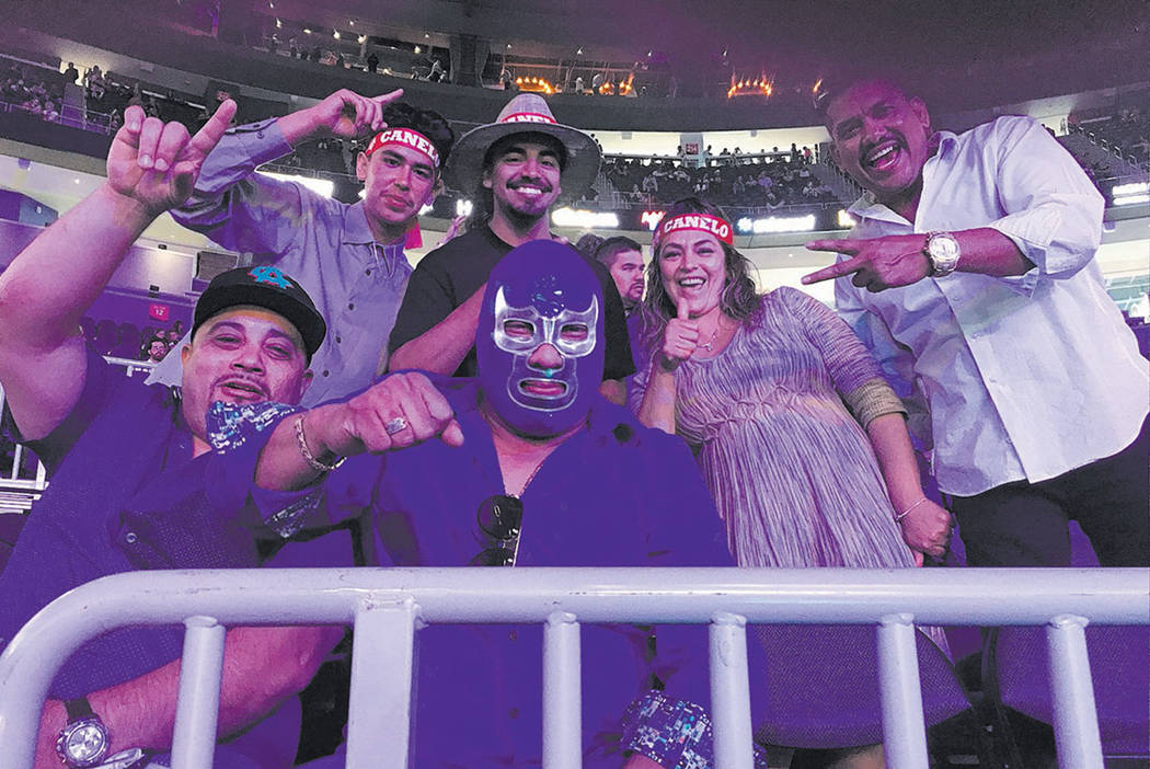 Fans display some frivolity during the Canelo Alvarez-Julio Cesar Chavez Jr. bout at T-Mobile Arena on Saturday, May 6, 2017. (John Katsilometes/Las Vegas Review-Journal) @JohnnyKats