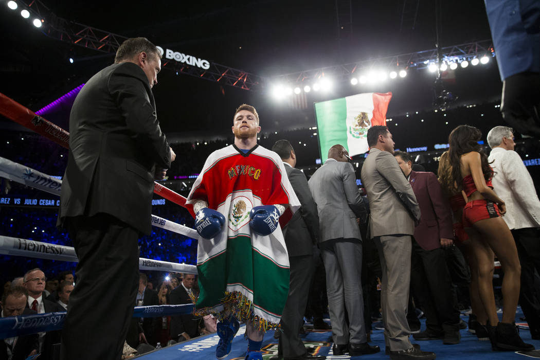 Saul Canelo Alvarez before his fight against Julio Cesar Chavez Jr. in the catch weight bout at T-Mobile Arena on Saturday, May 6, 2017, in Las Vegas. Alvarez won by unanimous decision. Erik Verdu ...
