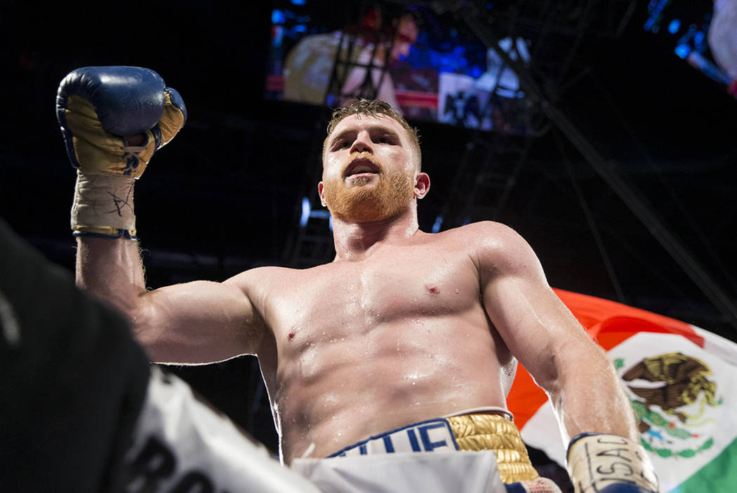 Saul Canelo Alvarez celebrates his win against Julio Cesar Chavez Jr. in the catch weight bout at T-Mobile Arena on Saturday, May 6, 2017, in Las Vegas. Alvarez won by unanimous decision. Erik Ver ...