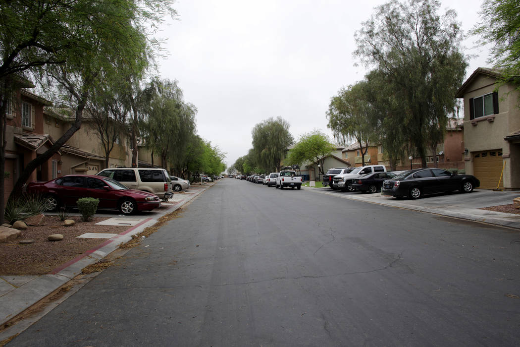 The block of 5200 Shreve Ave. where a man armed with two axes was fatally shot by police during a confrontation on Saturday night, as seen on Sunday, May 7, 2017, in Las Vegas. Rachel Aston Las Ve ...