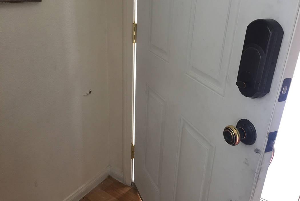 A bullet hole is seen Sunday in Maria Armendariz's home on Shreve Avenue in Las Vegas. (Blake Apgar/Las Vegas Review-Journal)