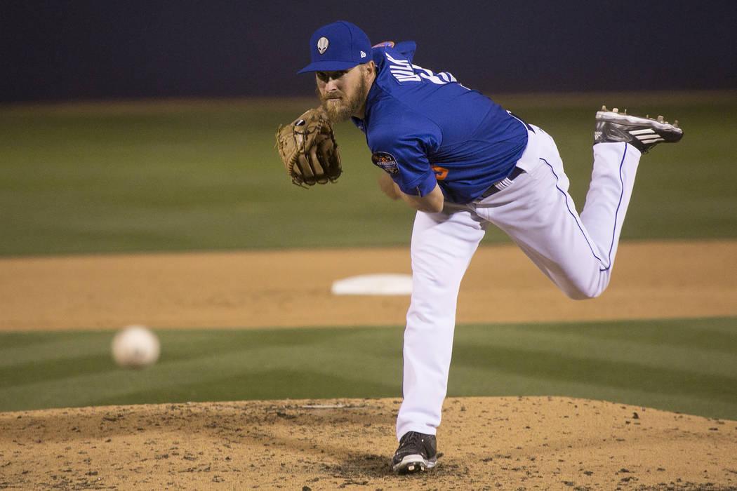 51s pitcher Adam Wilk (33) pitches to Albuquerque in the fourth during a game at Cashman Field on Thursday, April 27, 2017, in Las Vegas. Bridget Bennett/Las Vegas Review-Journal @bridgetkbennett
