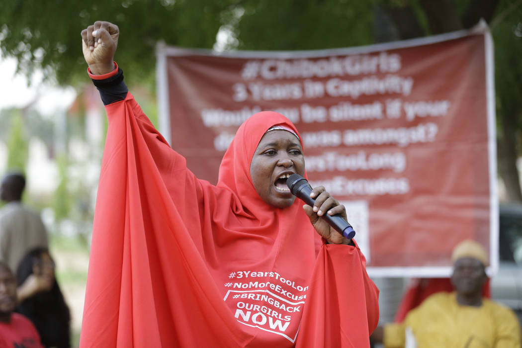 Aisha Yusuf, a 'Bring Back Our Girls' campaigner, speaks on the release of the kidnapped Chibok School Girls at the unity fountain in Abuja, Nigeria, Sunday, May 7, 2017. Five Boko Haram commander ...