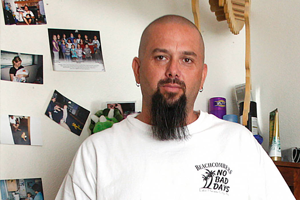 Chad Jensen, father of a girl who he says was inappropriately touched by a substitute teacher at Brown Academy in Henderson, at his home in Henderson on Monday May 1, 2017 Rachel Aston Las Vegas R ...