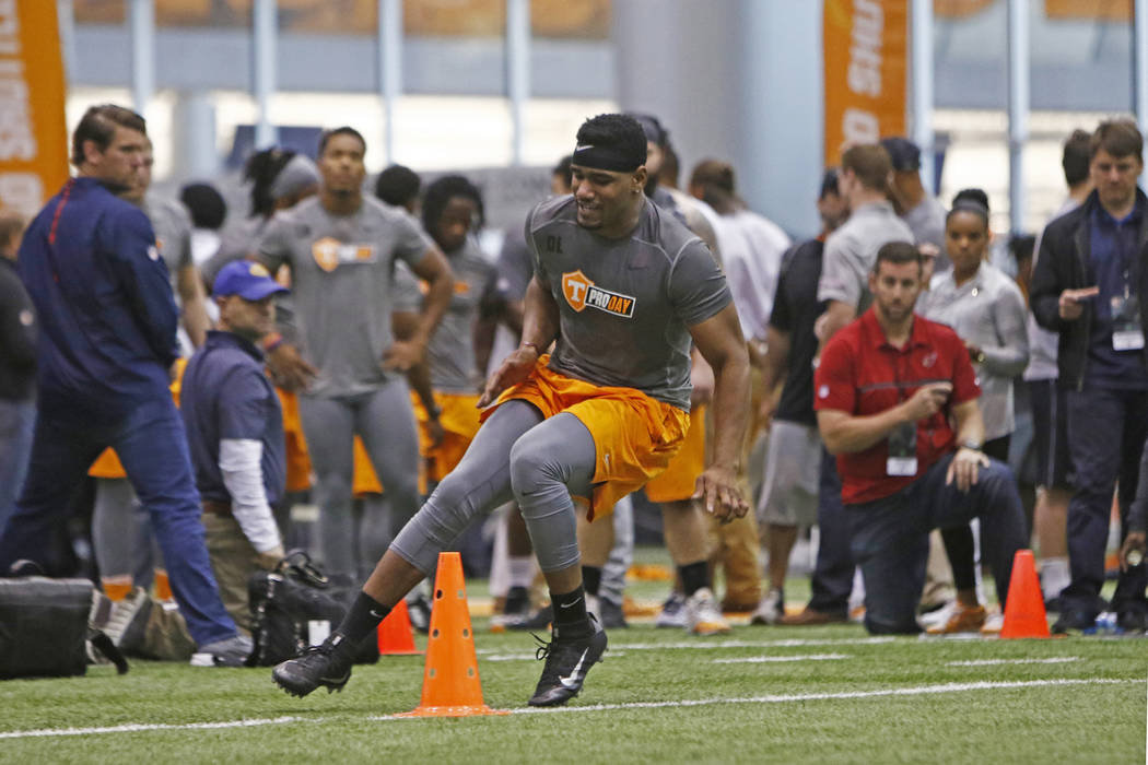 LaTroy Lewis competes during the NFL Pro Day on Friday, March 31, 2017, in Knoxville, Tenn. Lewis earned a contract with the Oakland Raiders this weekend after attending a three-day rookie minicam ...