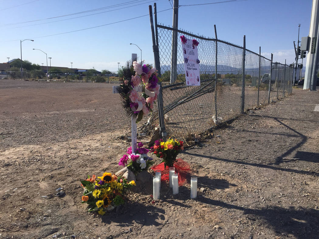 A memorial was set up  for Maria Castillo near the intersection of Nellis Boulevard and Carey Avenue in Las Vegas, Sunday, May 7, 2017. (Blake Apgar/Las Vegas Review-Journal) @blakeapgar