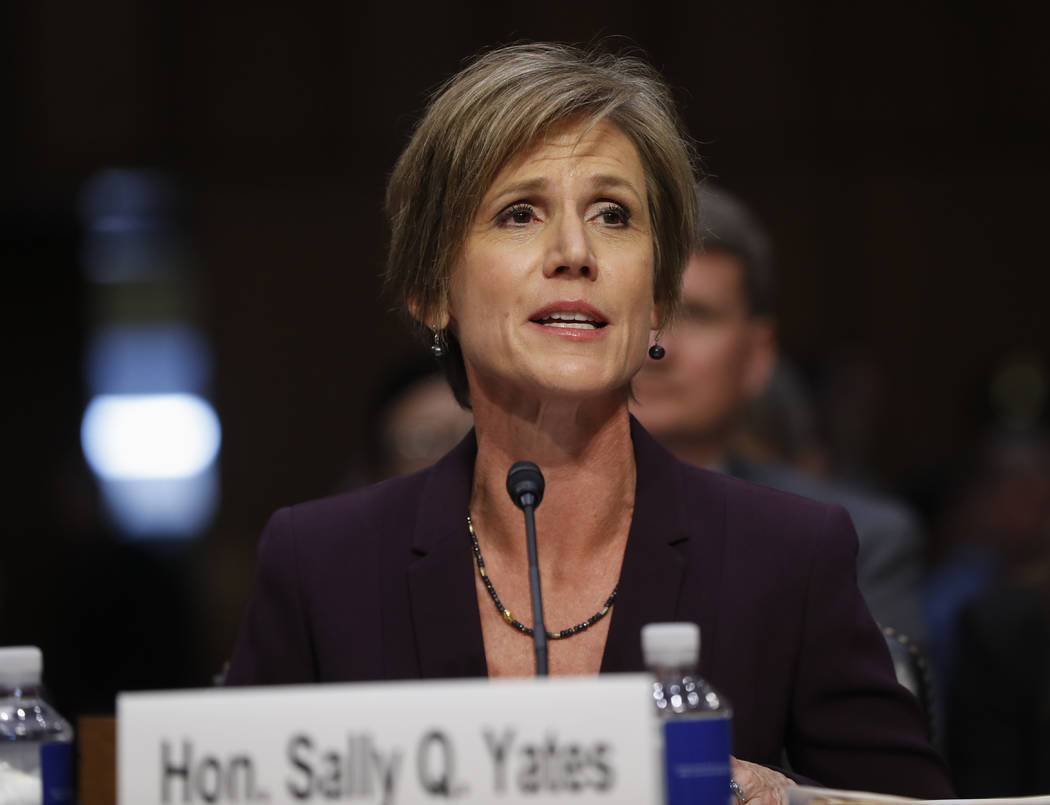 """Former acting Attorney General Sally Yates testifies on Capitol Hill in Washington, Monday, May 8, 2017, before the Senate Judiciary subcommittee on Crime and Terrorism hearing: """"Russian Interfere ..."""