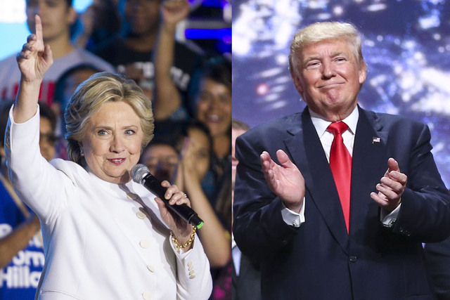 This composite photo shows shows Democratic presidential candidate Hillary Clinton and Republican presidential candidate Donald Trump (Clinton photo by Erik Verduzco/Las Vegas Review-Journal, Trum ...