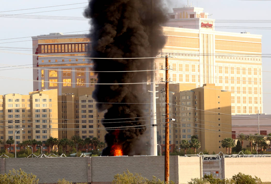 Clark County Fire Department is fighting a fire at an NV Energy substation Monday, May 7, 2017.  Bizuayehu Tesfaye Las Vegas Review-Journal @bizutesfaye