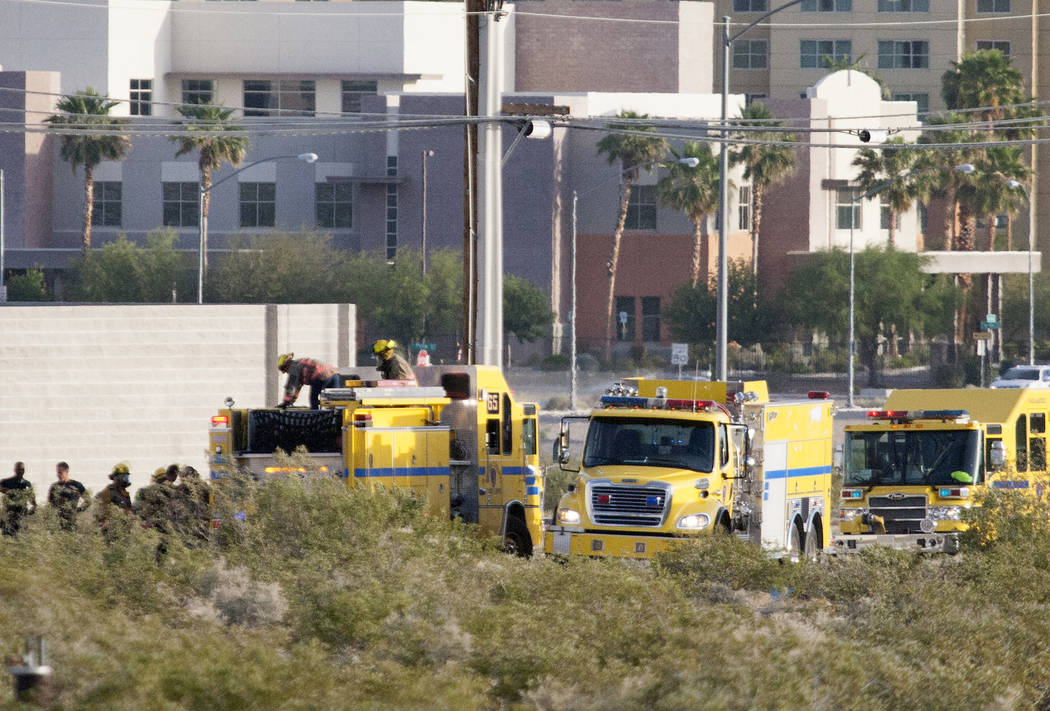 Clark County Fire Department at the scene where a fire damage an NV Energy substation Monday, May 7, 2017. Bizuayehu Tesfaye Las Vegas Review-Journal @bizutesfaye