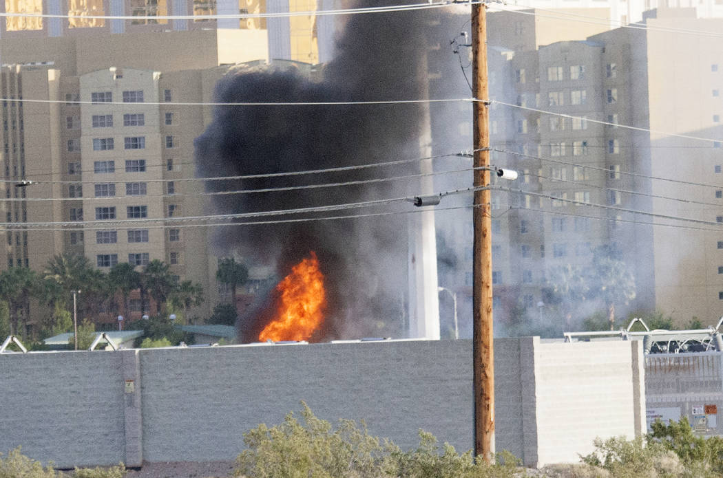 Clark County Fire Department is fighting a fire at an NV Energy substation Monday, May 8, 2017. Bizuayehu Tesfaye Las Vegas Review-Journal @bizutesfaye