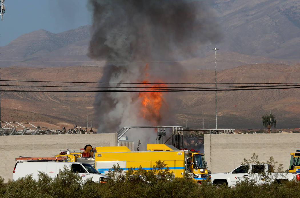 Clark County Fire Department Clark County Fire Department at the scene where a fire damaged an NV Energy substation at the corner of East Frias Avenue and Giles Street, near the South Point Monday ...