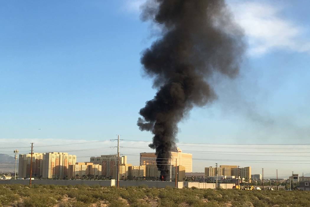 Clark County Fire Department is fighting a fire at an NV Energy substation Monday, May 7, 2017. (Bizuayehu Tesfaye/Las Vegas Review-Journal) @bizutesfaye