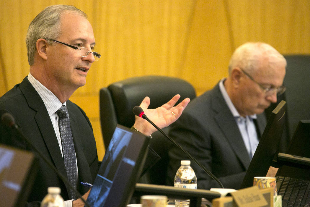 Authority board chairman Steve Hill speaks during a Las Vegas Stadium Authority meeting at Clark County Commission Chambers on Thursday, May 11, 2017, in Las Vegas. Bridget Bennett Las Vegas Revie ...