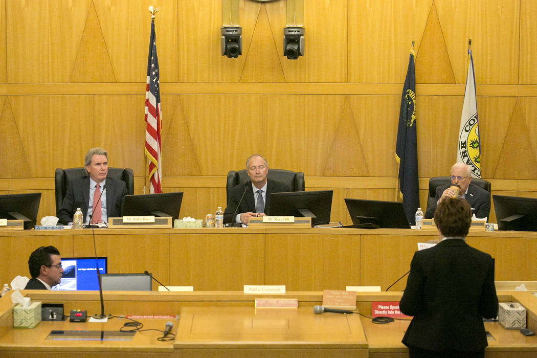 Public comment is made during a Las Vegas Stadium Authority meeting at Clark County Commission Chambers on Thursday, May 11, 2017, in Las Vegas. Bridget Bennett Las Vegas Review-Journal @bridgetkb ...