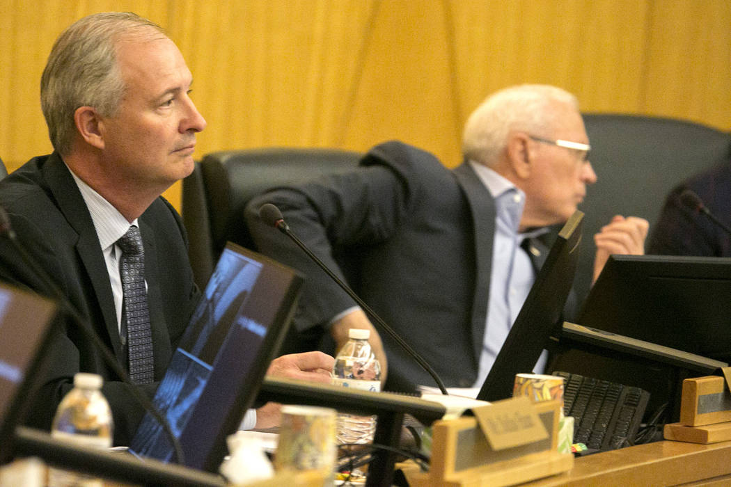 Authority board chairman Steve Hill listens to public comment during a Las Vegas Stadium Authority meeting at Clark County Commission Chambers on Thursday, May 11, 2017, in Las Vegas. Bridget Benn ...