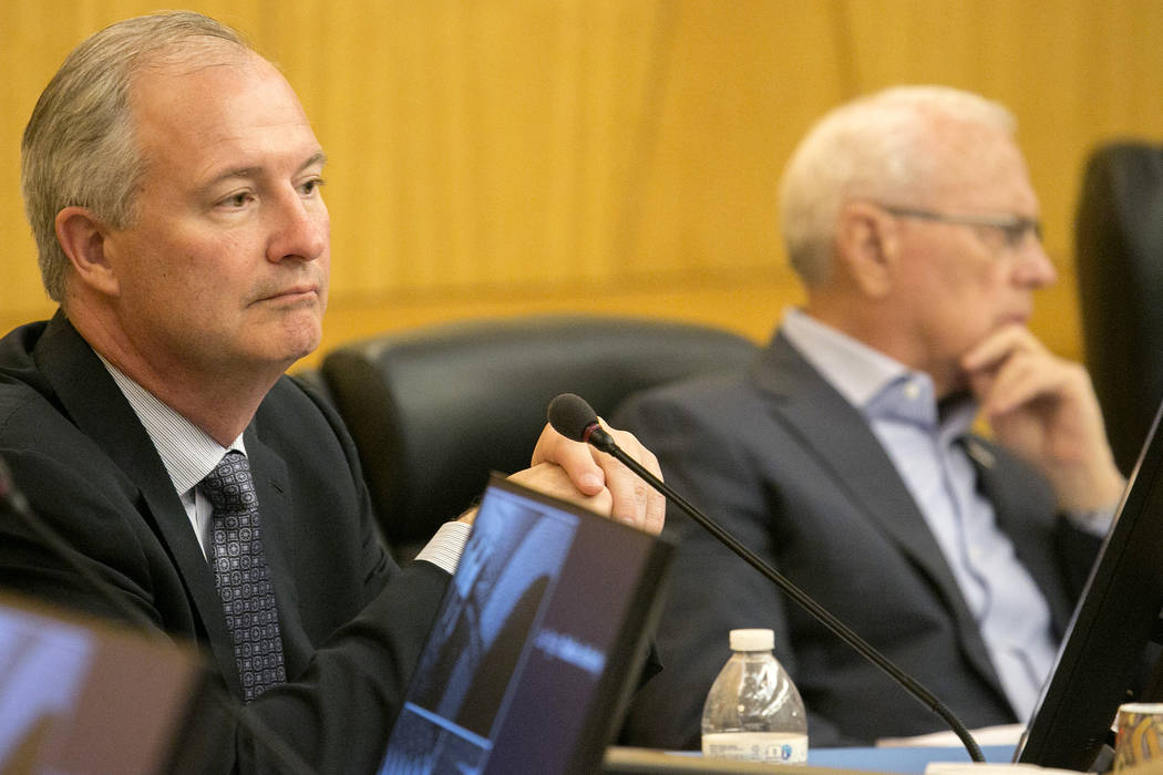 Authority board chairman Steve Hill listens to comments during a Las Vegas Stadium Authority meeting at Clark County Commission Chambers on Thursday, May 11, 2017, in Las Vegas. Bridget Bennett La ...