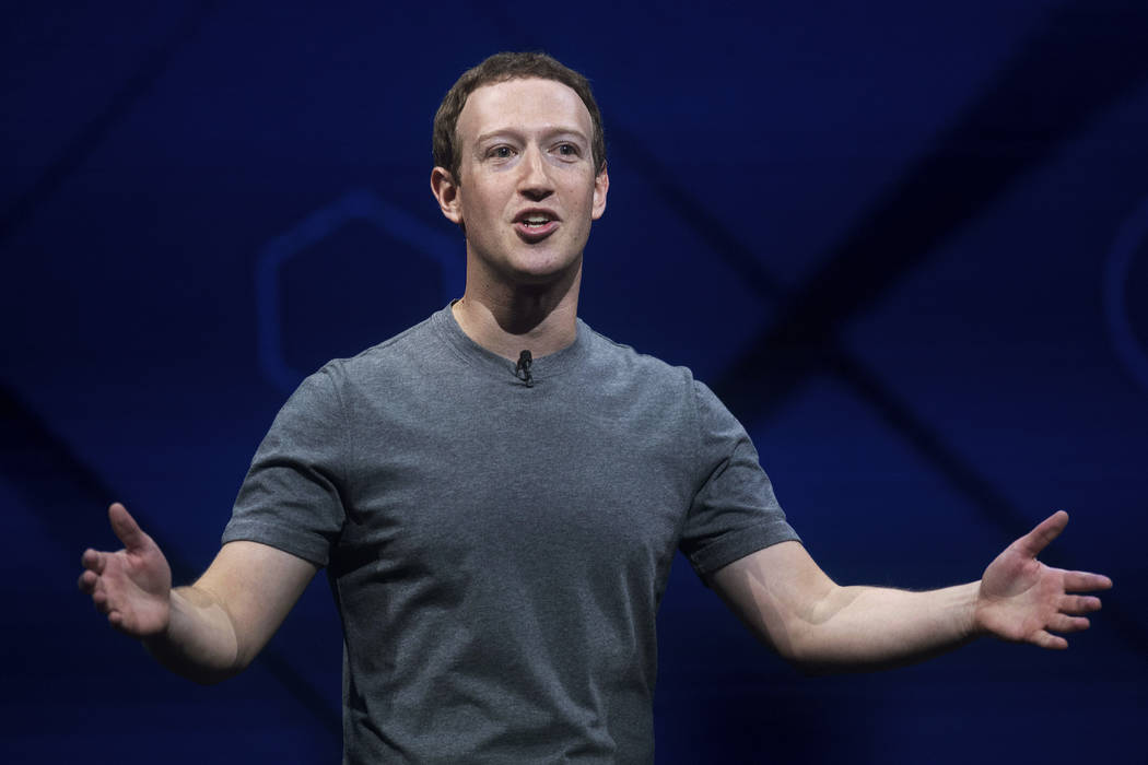 Facebook CEO Mark Zuckerberg speaks April 18, 2017, at his company's annual F8 developer conference in San Jose, Calif. The company said it was implementing new methods of reaching out to people i ...