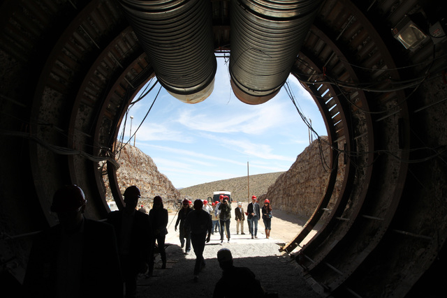 Members of a congressional tour of the Yucca Mountain exploratory tunnel enter the south portal Thursday, April 9, 2015. (Sam Morris/Las Vegas Review-Journal) @sammorrisRJ