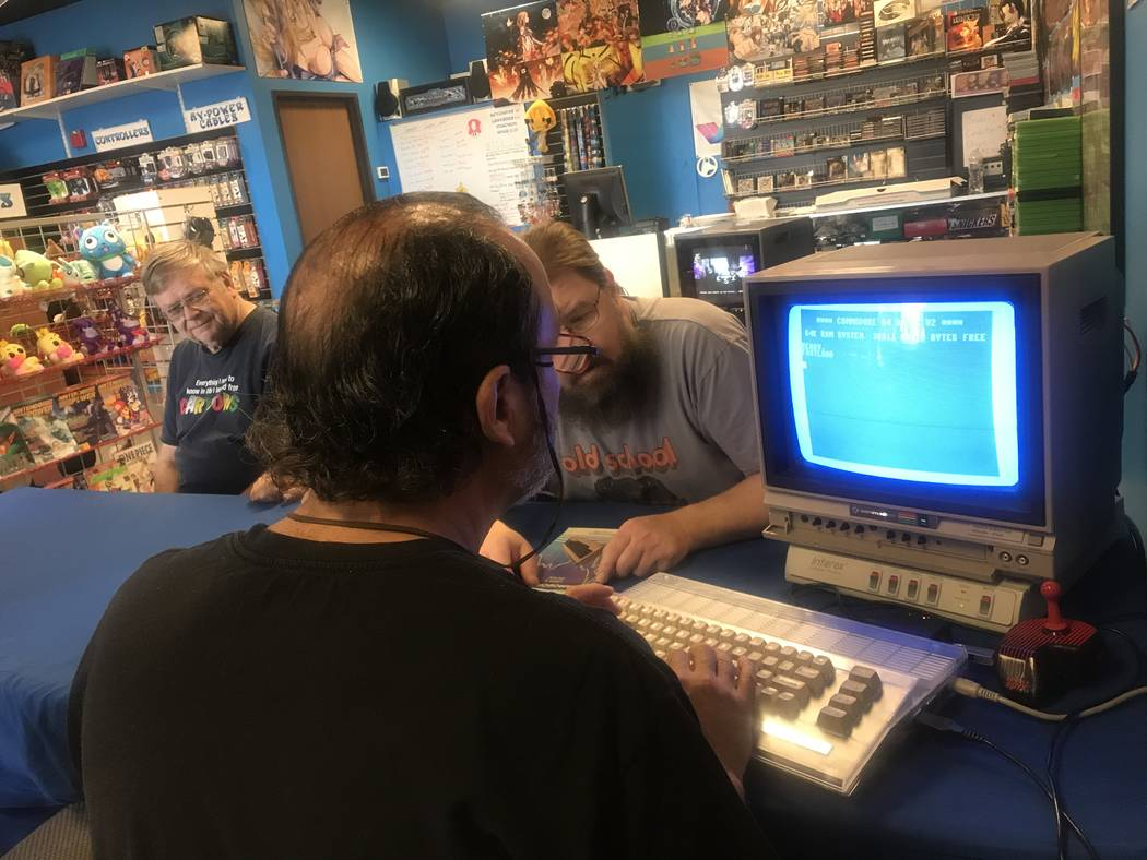 Yul Haasmann plays a game on Commodore 64 May 6 during a Clark County Commodore Computer Club meeting at Grand Line Games, 3281 N. Decatur Blvd. #240. (Kailyn Brown/View)