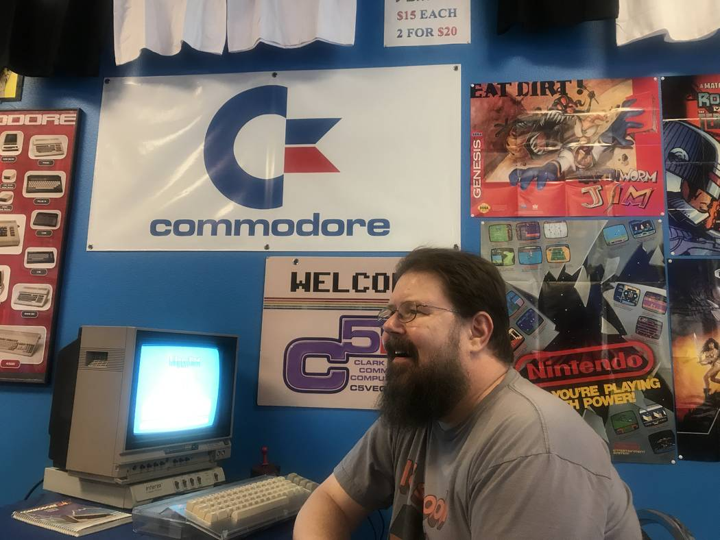 Keith Greene, vice president of the Clark County Commodore Computer Club at a meeting May 6 at Grand Line Games, 3281 N. Decatur Blvd. #240. (Kailyn Brown/View)