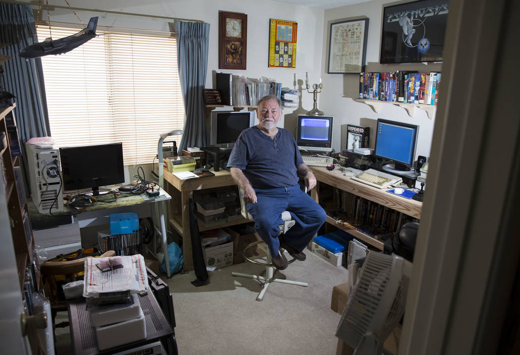 Forrest Nettles, the president of the Clark County Commodore Computer Club, at his home with his collection of Commodore Amiga computers and gadgets on Wednesday, May 10, 2017, in Las Vegas. (Erik ...