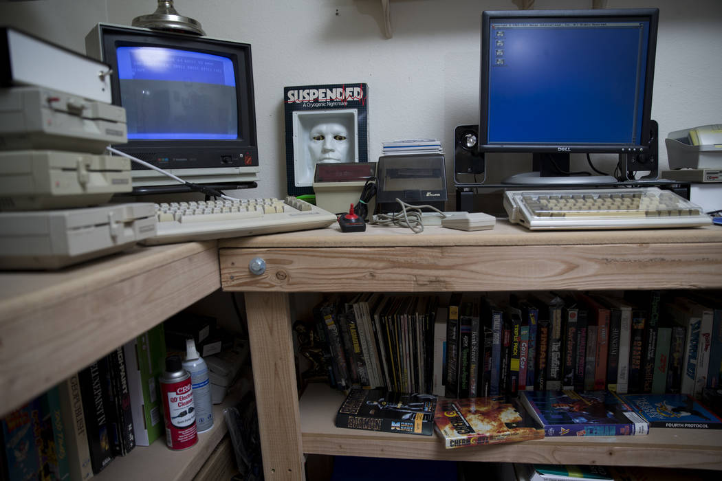 Commodore Amiga computers and gadgets at the home of Forrest Nettles, the president of the Clark County Commodore Computer Club, on Wednesday, May 10, 2017, in Las Vegas. (Erik Verduzco/View) @Eri ...