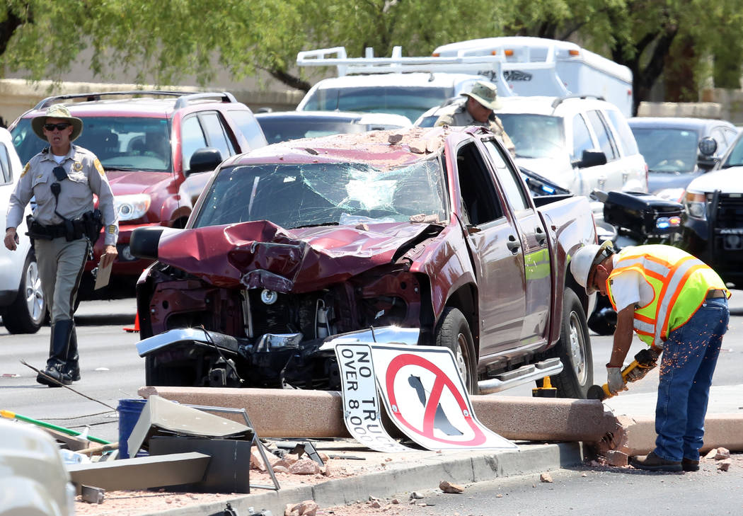 Police investigate a three-vehicle crash at the intersection of North Durango Drive and West Cheyenne Avenue on Monday, May 8, 2017, in Las Vegas. (Bizuayehu Tesfaye Las Vegas Review-Journal) @biz ...