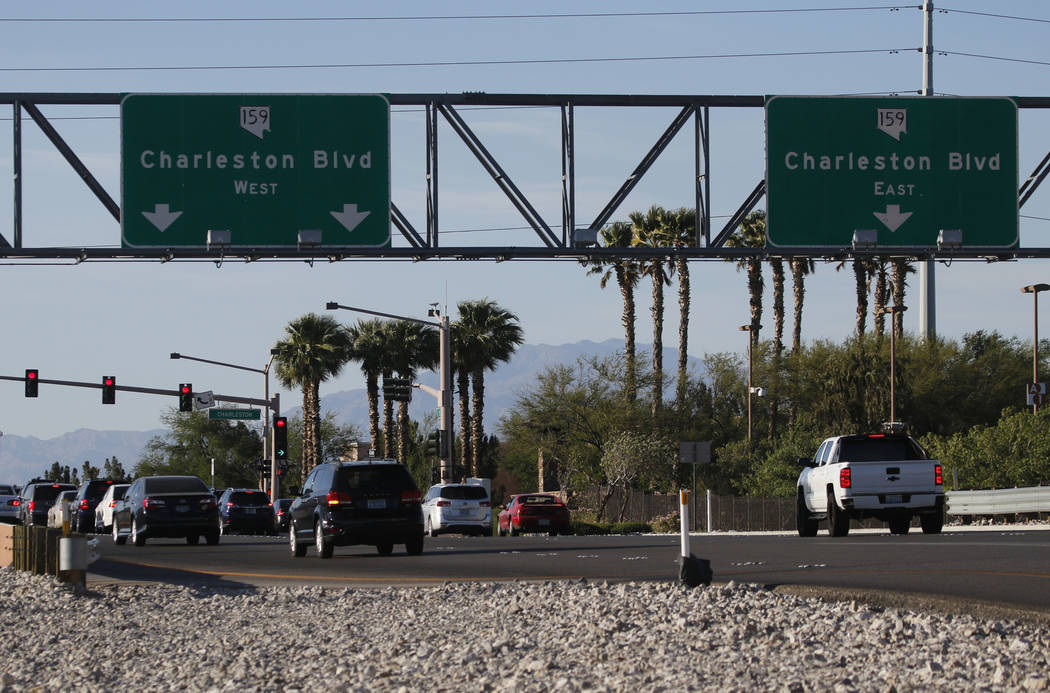The intersection at Charleston Boulevard and 215 Beltway northbound in Las Vegas on Tuesday, May 12, 2017. Howard Hughes Corp. is designing improvements that call for adding a second right-turn la ...