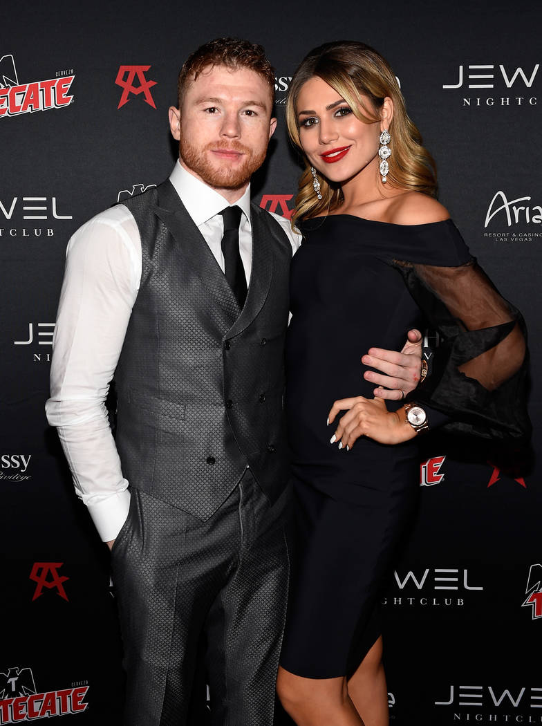 Canelo Alvarez and Fernanda Gomez arrive at his Official After-Fight Party at Jewel at Aria on Saturday, May 6, 2017, in Las Vegas. (David Becker/WireImage)