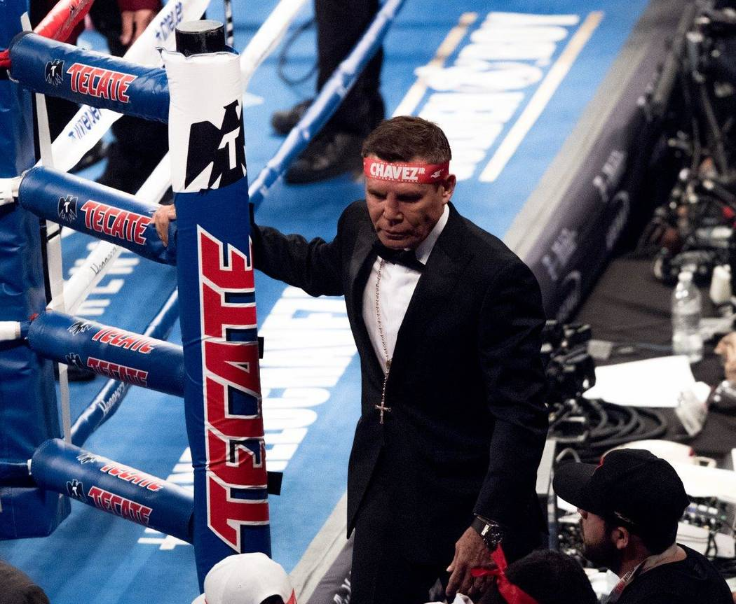 "Saul ""Canelo"" Alvarez and Julio Cesar Chavez Jr. fight at T-Mobile Arena on Saturday, May 6, 2017, in Las Vegas. Alvarez won in a unanimous decision after 12 rounds. Julio Cesar Chavez Sr. is pict ..."