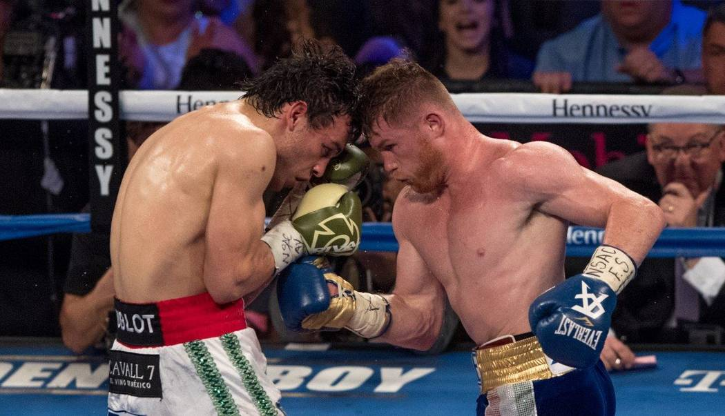 "Saul ""Canelo"" Alvarez and Julio Cesar Chavez Jr. fight at T-Mobile Arena on Saturday, May 6, 2017, in Las Vegas. Alvarez won in a unanimous decision after 12 rounds. (Tom Donoghue)"