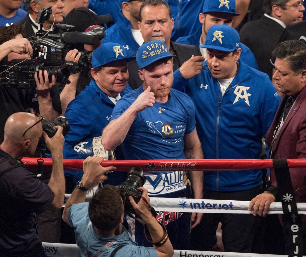 "Saul ""Canelo"" Alvarez, pictured here, and Julio Cesar Chavez Jr. fight at T-Mobile Arena on Saturday, May 6, 2017, in Las Vegas. Alvarez won in a unanimous decision after 12 rounds. (Tom Donoghue)"