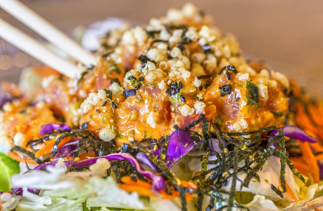 Spicy tuna asian salad at Paina Cafe on Tuesday, May 9, 2017, in Las Vegas. Benjamin Hager Las Vegas Review-Journal @benjaminhphoto