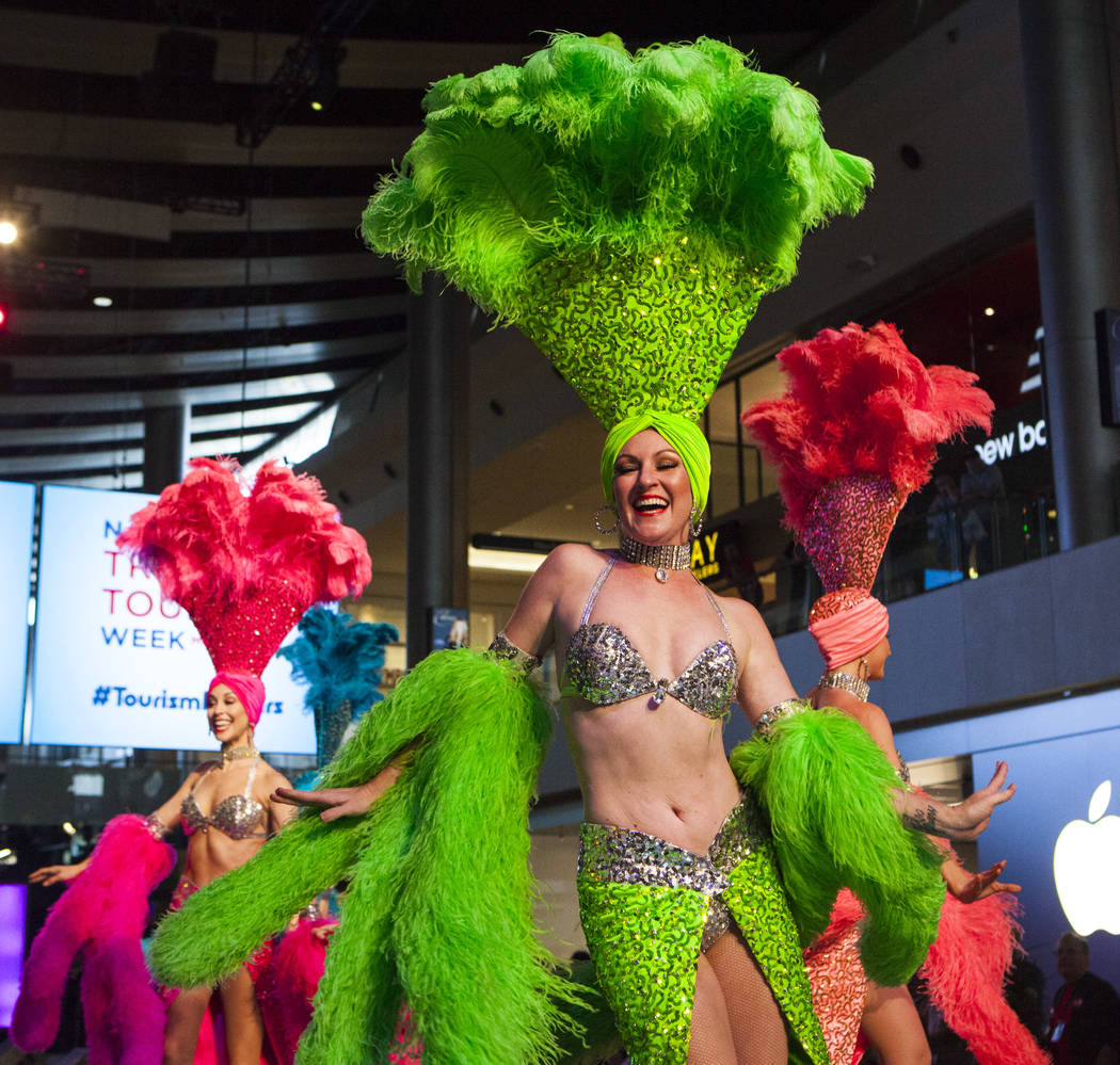 Viva Las Vegas showgirls perform during a celebration of tourism hosted by the Las Vegas Convention and Visitors Authority at the Fashion Show mall in Las Vegas on Tuesday, May 9, 2017. Miranda Al ...