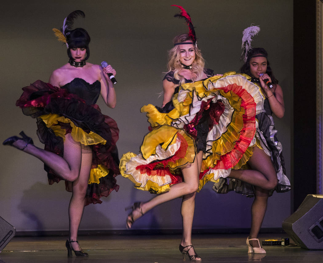 The cast of BAZ Star Crossed Love perform during a celebration of tourism hosted by the Las Vegas Convention and Visitors Authority at the Fashion Show mall in Las Vegas on Tuesday, May 9, 2017. M ...