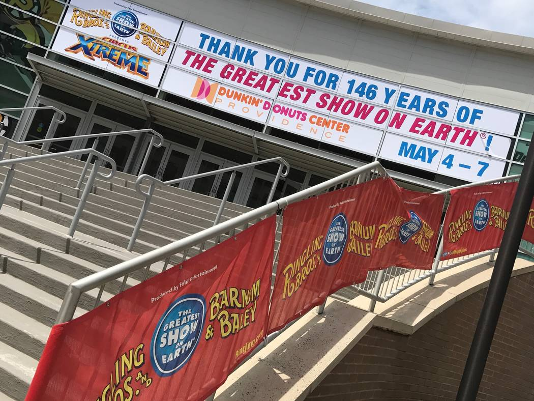 A sign marking the end of the Ringing Bros. and Barnum & Bailey Circus is shown in Providence. R.I. on Sunday, May 7, 2017. (Andy Walmsley)