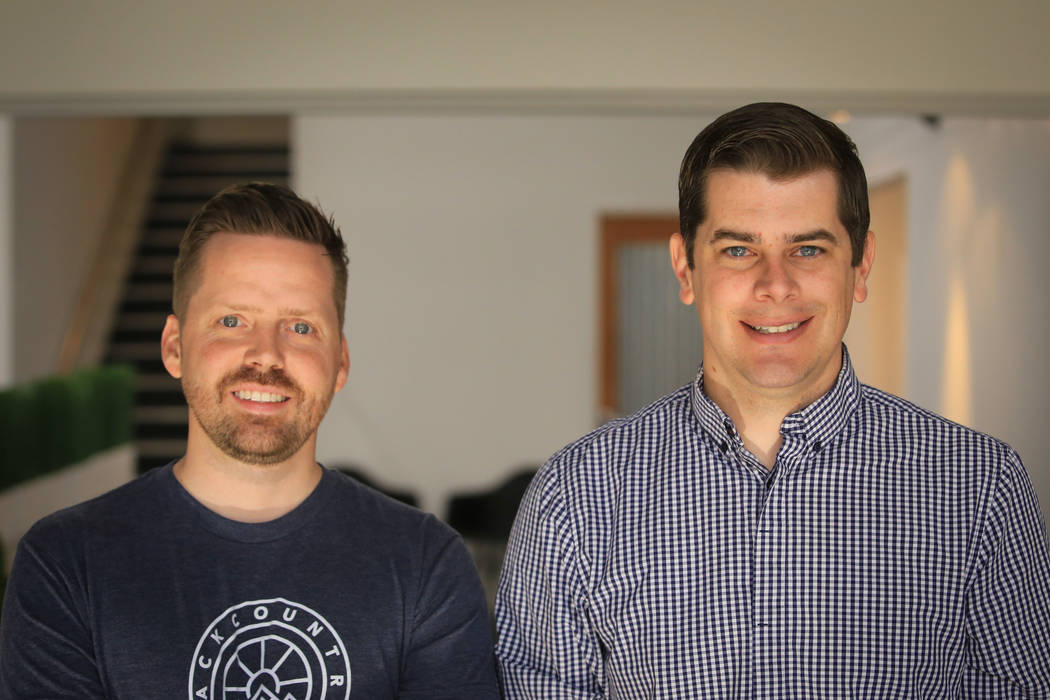 Josh Stanley, left, and Seth Waite, both co-founders of Teamvvork, which was purchased by RevUnit, at the RevUnit office in Las Vegas on Thursday, May 18, 2017. Brett Le Blanc Las Vegas Review-Jou ...