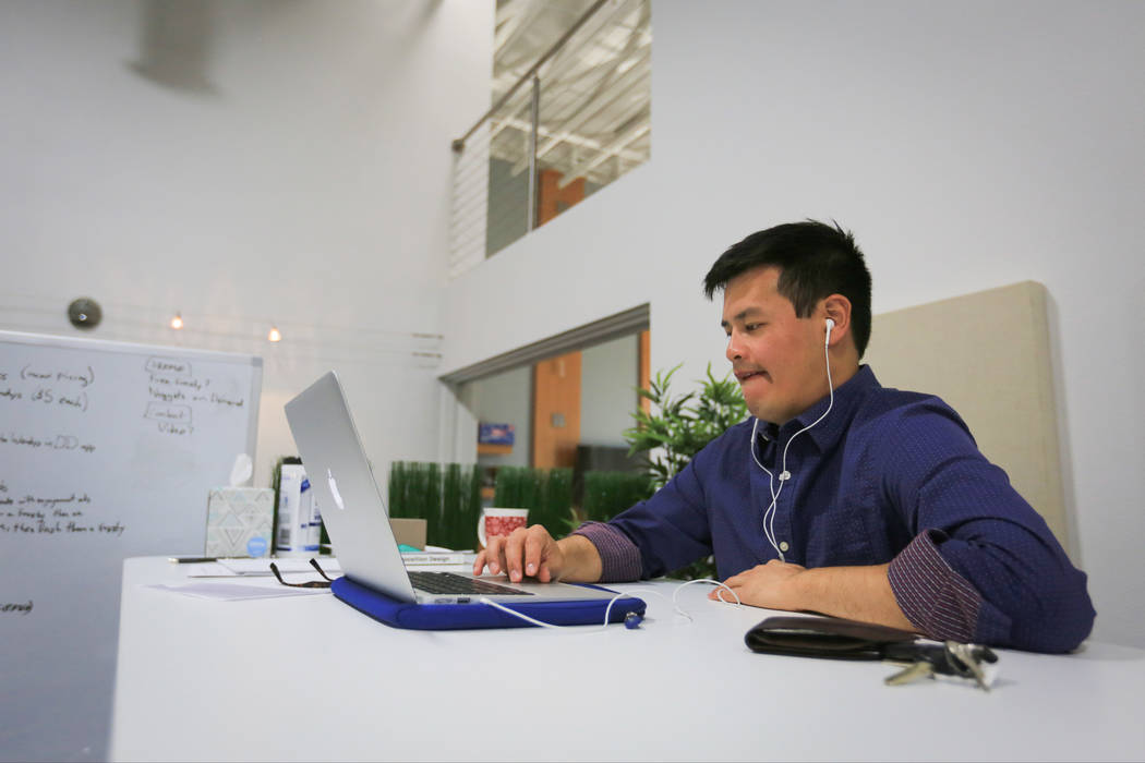 Tim Lee, a junior product owner, works at the RevUnit office in Las Vegas on Thursday, May 18, 2017. Brett Le Blanc Las Vegas Review-Journal @bleblancphoto