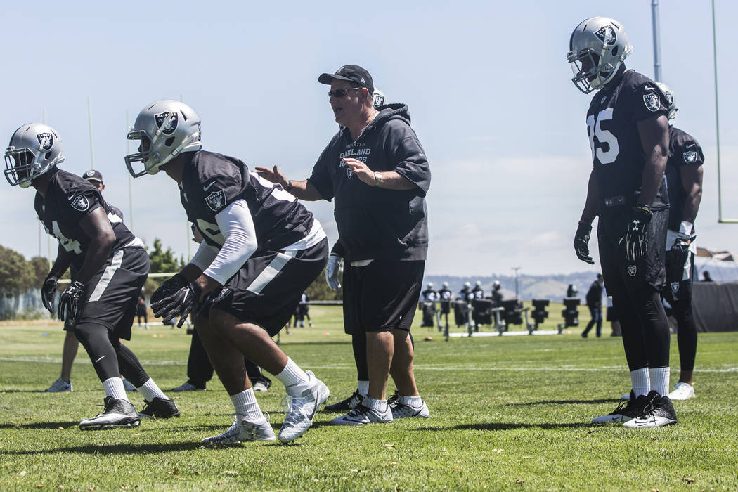 Raider linebackers work through a drill during rookie minicamp on Friday, May 5, 2017, at Oakland Raiders Headquarters, in Alameda, Calif. Benjamin Hager Las Vegas Review-Journal @benjaminhphoto