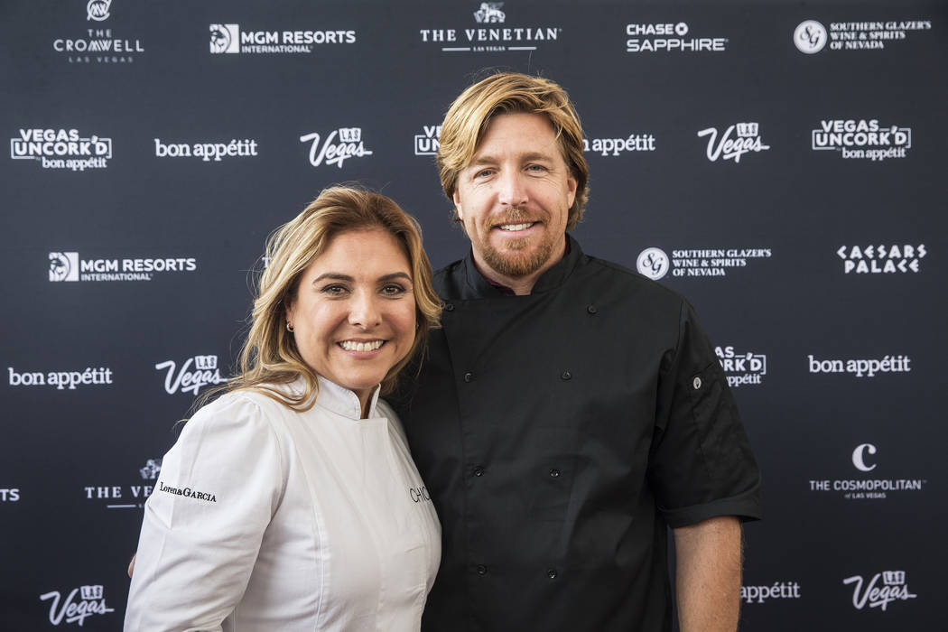 Lorena Garcia and John Kunkel during Vegas Uncork'd on Thursday, April 27, 2017, at The Linq Hotel in Las Vegas. The event is sponsored by Bon Appetit and offers food-and-wine enthusiasts unique e ...