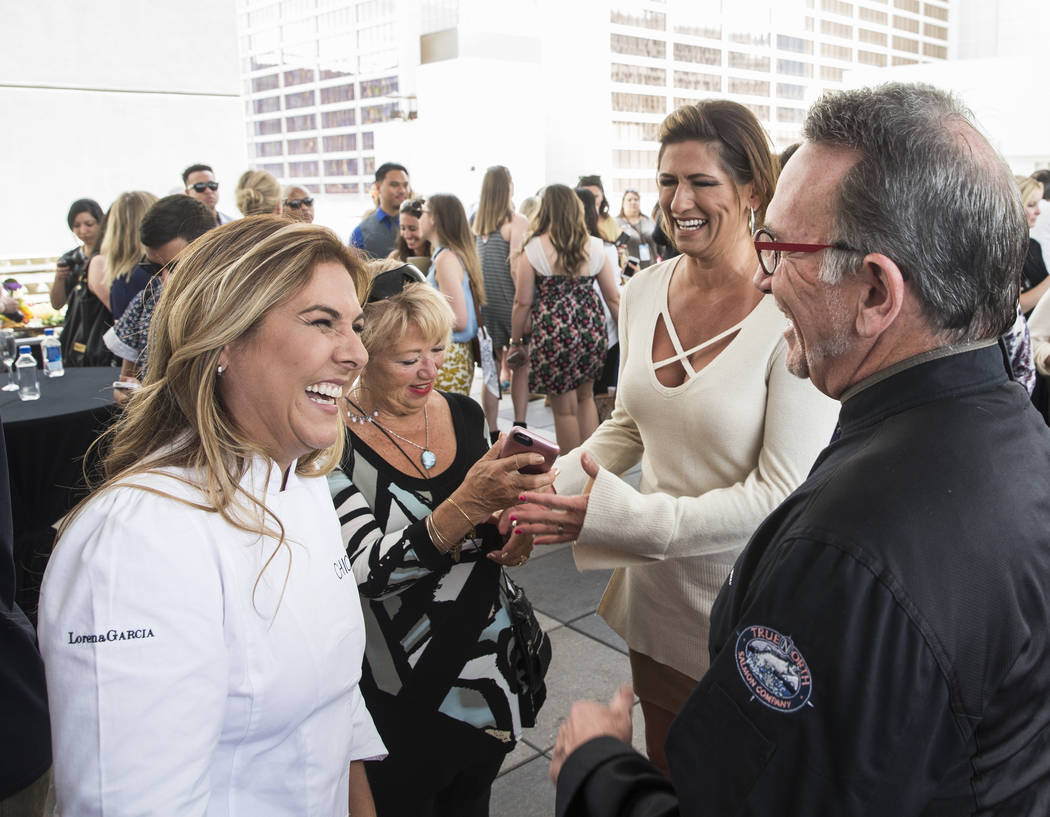 Lorena Garcia chats with Rick Moonen during Vegas Uncork'd on Thursday, April 27, 2017, at The Linq Hotel in Las Vegas. The event is sponsored by Bon Appetit and offers food-and-wine enthusiasts u ...
